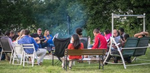 Friday evening vespers was held at the Ramos' around a campfire